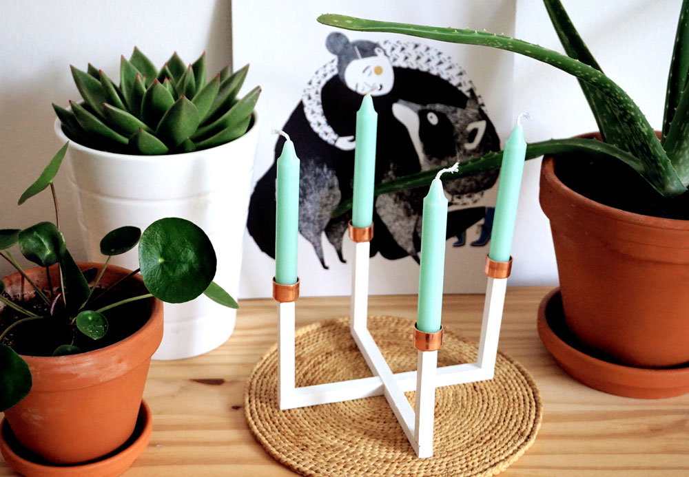 diy kerzenleuchter aus holz und kupfer hejhurra. Black Bedroom Furniture Sets. Home Design Ideas